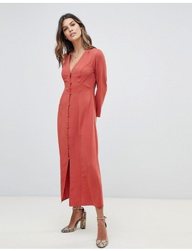 Asos Design Button Through Maxi Dress With Long Sleeves by Asos Design