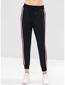Zaful High Waisted Striped Patched Pants   Black S by Zaful