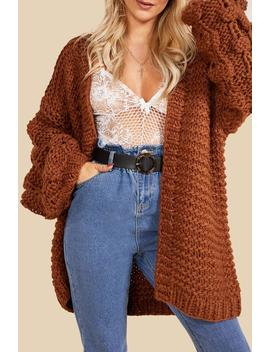 Premium Hand Knitted Chunky Cable Cardigan by Boohoo