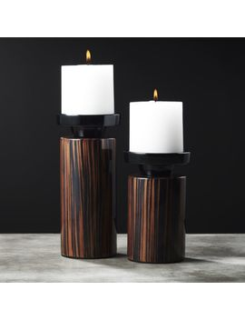 Paz Wood Pillar Candle Holders Set Of 2 by Crate&Barrel