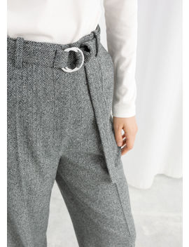 Duo D Ring Herringbone Trousers by & Other Stories
