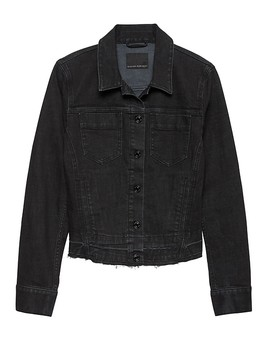 Frayed Denim Jacket With Let Down Hem by Banana Repbulic