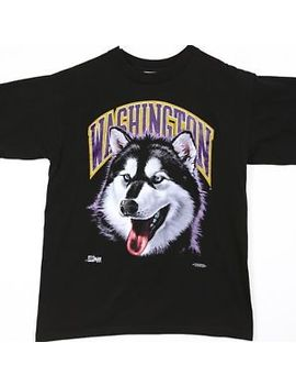 Vintage 90s 1992 Washington Huskies T Shirt Black Mens Large Euc! Husky Mascot by Salem