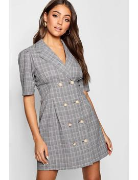 Pearl Button Checked Tailored Blazer Dress by Boohoo