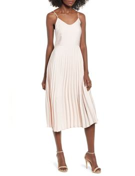 Pleated Midi Dress by Love, Fire