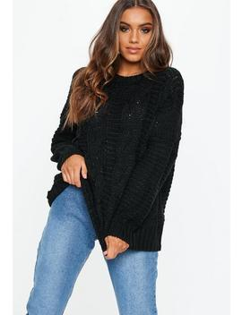 Black Cable Knitted Boyfriend Jumper by Missguided