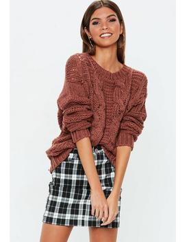 Rust Cable Knitted Boyfriend Jumper by Missguided