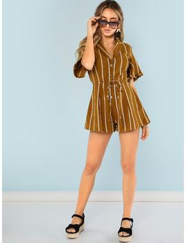 Stripe Button Up Collared Romper by Sheinside