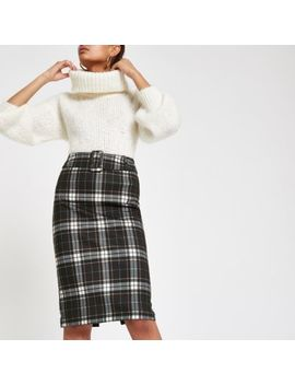 Blue Check Belted Pencil Skirt by River Island