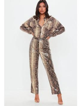 Petite Brown Snake Print Shiny Wide Leg Trousers by Missguided