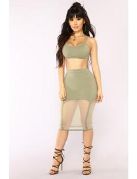 Out For The Night Bandage Set   Olive by Fashion Nova