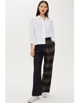Mixed Check Wide Leg Trousers by Topshop