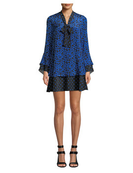 Wellesly Tie Neck Trumpet Sleeve Dress by Alice + Olivia