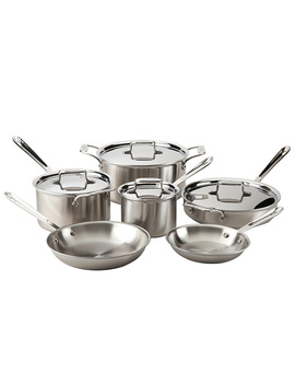 All Clad Brushed Stainless Steel 10 Piece Set by Qvc
