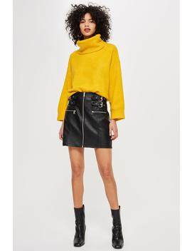 Leather Look Buckle Mini Skirt by Topshop