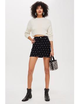 Spot Print Corduroy Skirt by Topshop