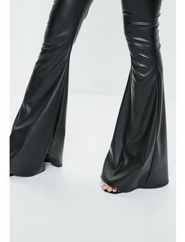 Black Faux Leather Flared Pants by Missguided