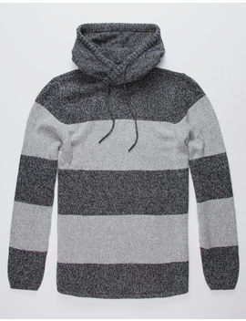 Birch Black Striped Charcoal Mens Hooded Sweater by Birch Black