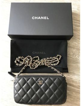 Chanel Double Zip Woc Clutch With Chain Black Lambskin&Nbsp; by Chanel