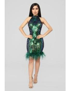 Crowd Pleaser Sequin Dress   Blue/Green by Fashion Nova