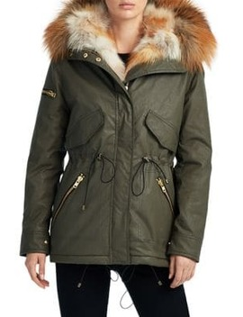 4 Way Fox Fur Trim Mini Luxe Limelight Anorak Jacket by Sam.
