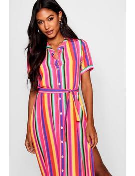 Rainbow Stripe Midaxi Shirt Dress by Boohoo