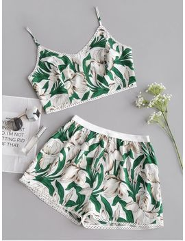 Flower Cami Crop Top And Shorts Set   Floral M by Zaful