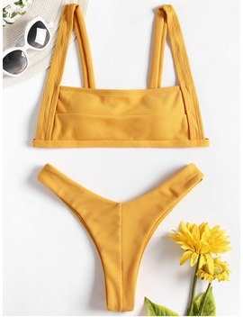 Square Neck Ribbed High Cut Bikini   Bee Yellow M by Zaful