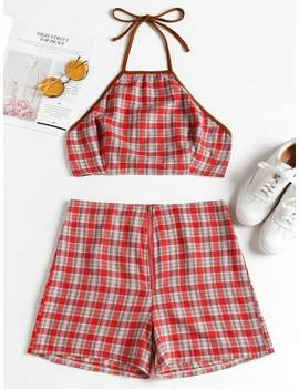 Knotted Plaid Top And Shorts Set   Red M by Zaful