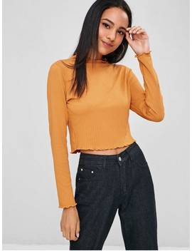 Lettuce Trim Ribbed Tee   Orange Gold M by Zaful