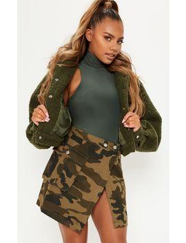 Camo Cargo Pocket Denim Skirt  by Prettylittlething