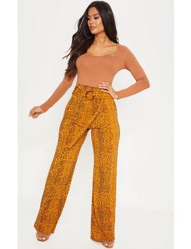 snake-print-tortoise-shell-belted-waist-wide-leg-trouser by prettylittlething