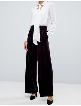 Y.A.S High Waisted Velvet Cropped Pants by Y.A.S.