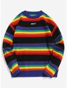 Rainbow Striped Letter Knit Sweater   Black L by Zaful