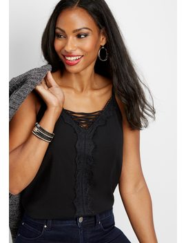 Lattice Neckline Solid Lace Tank by Maurices