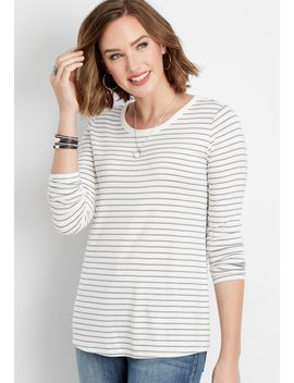 Enable On 10/26 Keep Off Site24/7 Basic Long Sleeve Stripe Tee by Maurices