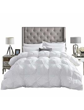 Luxurious All Season Goose Down Comforter King Size Duvet Insert, Exquisite Pinch Pleat Design, Premium Baffle Box, 1200 Thread Count 100 Percents Egyptian Cotton, 750+ Fill Power, 65 Oz Fill Weight, White by Egyptian Cotton Factory Outlet Store