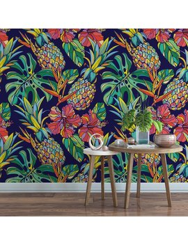 Pineapple Botanical Removable Wallpaper / Cute Hibiscus Self Adhesive Wallpaper / Palm Temporary Wallpaper B151 27 by Etsy