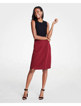 Satin Trim Wrap Pencil Skirt by Ann Taylor