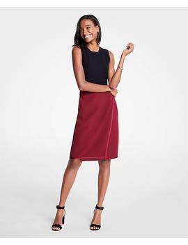 satin-trim-wrap-pencil-skirt by ann-taylor