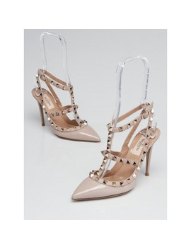 Beige Patent Leather Rockstud Pumps Size 5.5/36 by Valentino