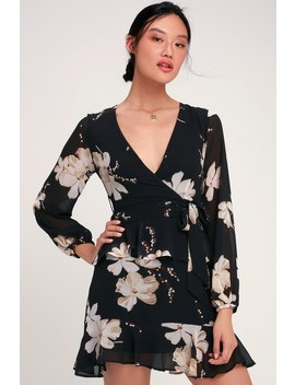 Jasmine And Yours Black Floral Print Long Sleeve Dress by Lulus