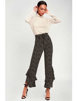 Seville Black Floral Print Ruffle Hem Pants by Lucy Love