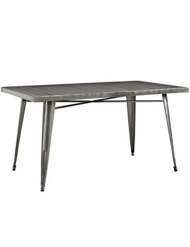 Alacrity Rectangle Metal Dining Table Gunmetal   Modway by Modway