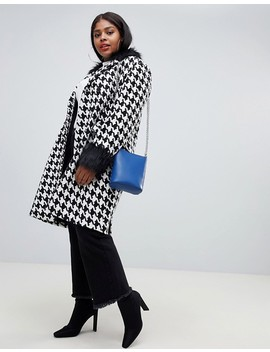 Unique21 Hero Plus Oversized Car Coat In Houndstooth With Faux Fur Collar And Cuffs by Unique 21 Hero