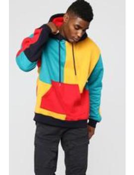 80's Color Block Hoodie   Multi by Fashion Nova