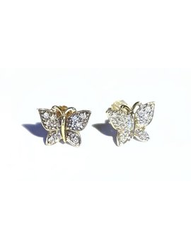 Vintage 14k Yellow Gold Diamond Butterfly Studs, Pierced Earrings by Etsy