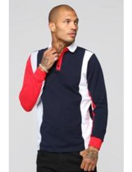 Prestigious Long Sleeve Polo   Navy/Multi by Fashion Nova