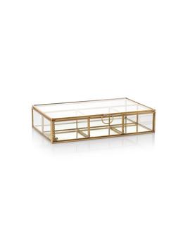 Gold & Glass Pink Velvet Trinket Boxes Set Of Two by Olivar Bonas