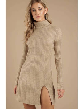 Misunderstood Taupe Rib Knit Dress by Tobi